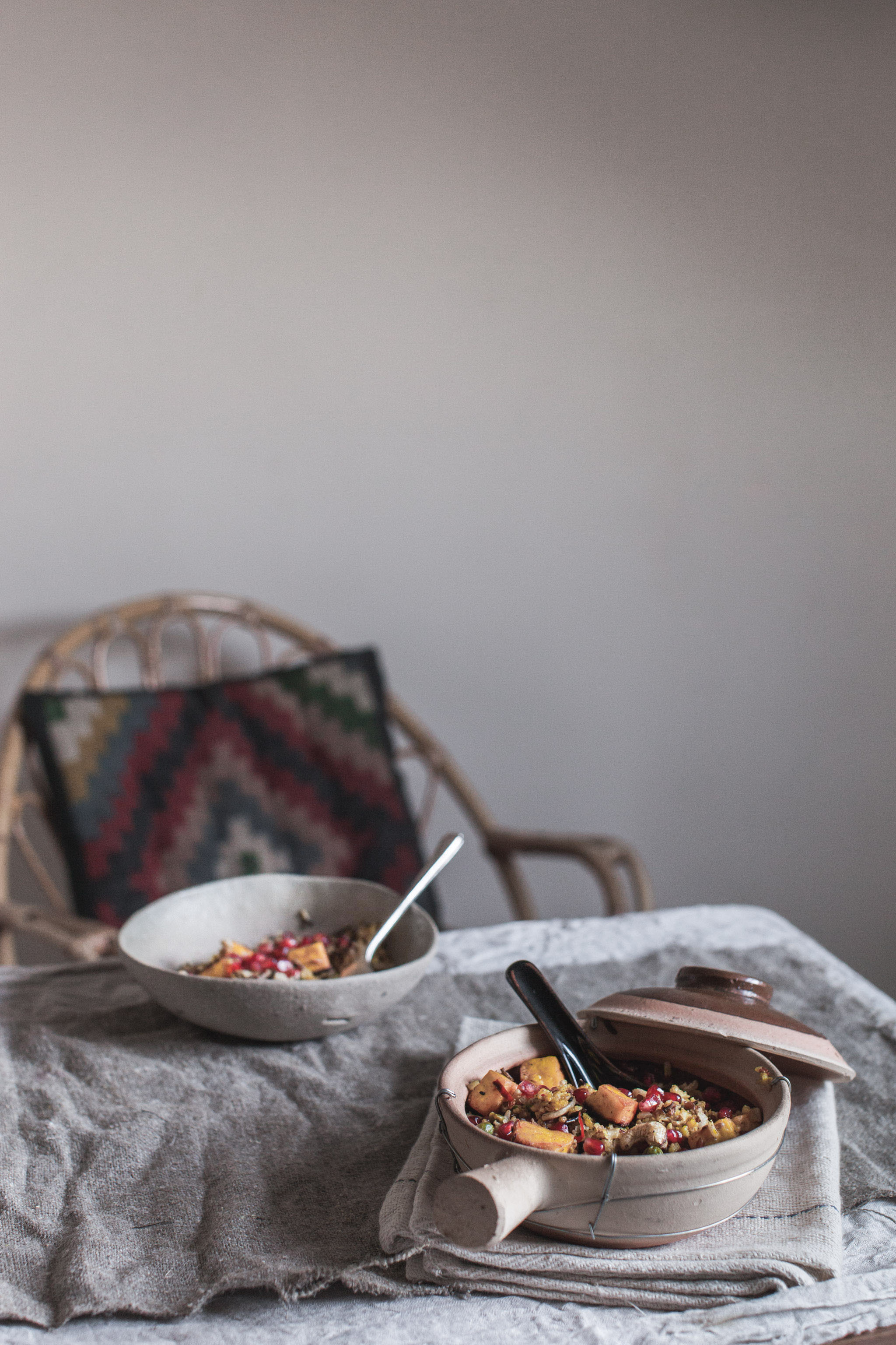 Saffron paneer rice with pomegranate and cashews.  Retreat // Food and lifestyle blog based in Sussex. Photography by Emma Gutteridge.