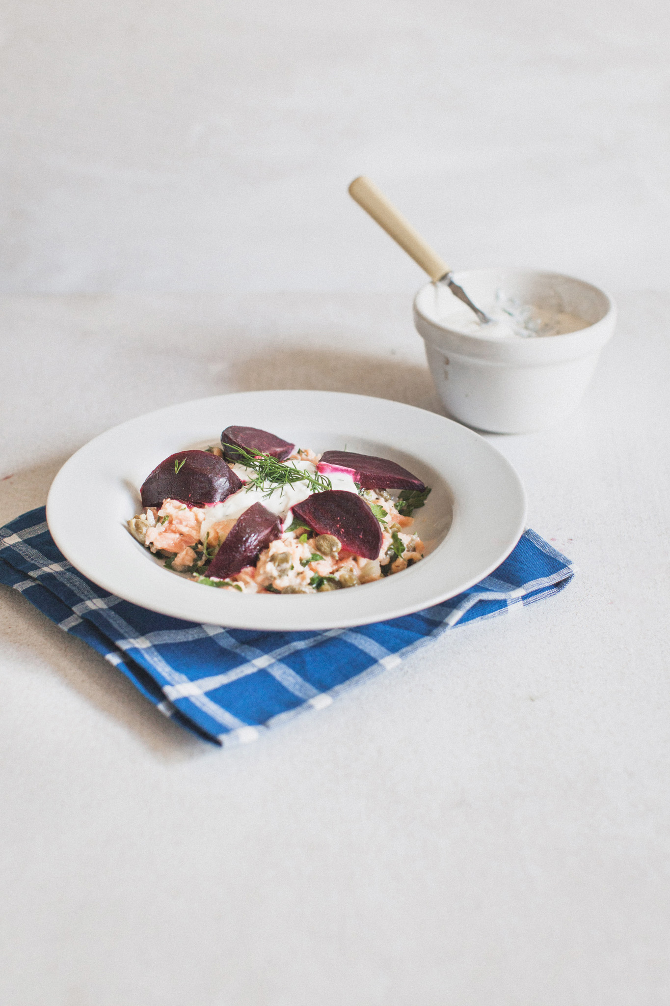 Salmon tartar with roast beetroot and dill creme fraiche. Retreat // Food and lifestyle blog based in Sussex. Photography by Emma Gutteridge.