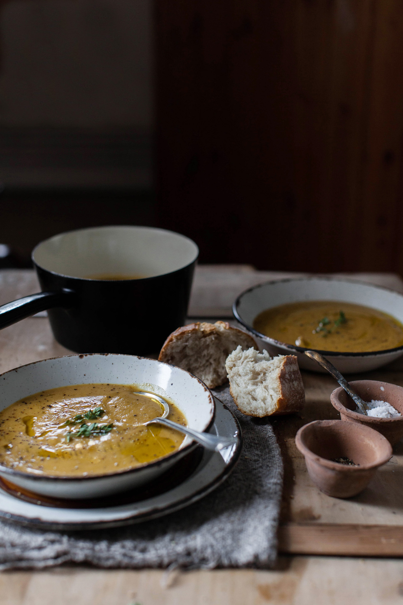 Leftover Sunday chicken roast soup with vegetables. Photography by Sussex food photographer Emma Gutteridge