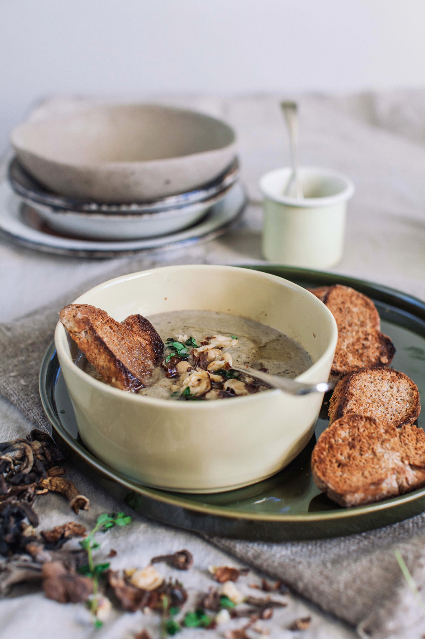 Mushroom soup with a hazelnut topping. Retreat // Food and lifestyle blog based in Sussex. Photography by Emma Gutteridge.