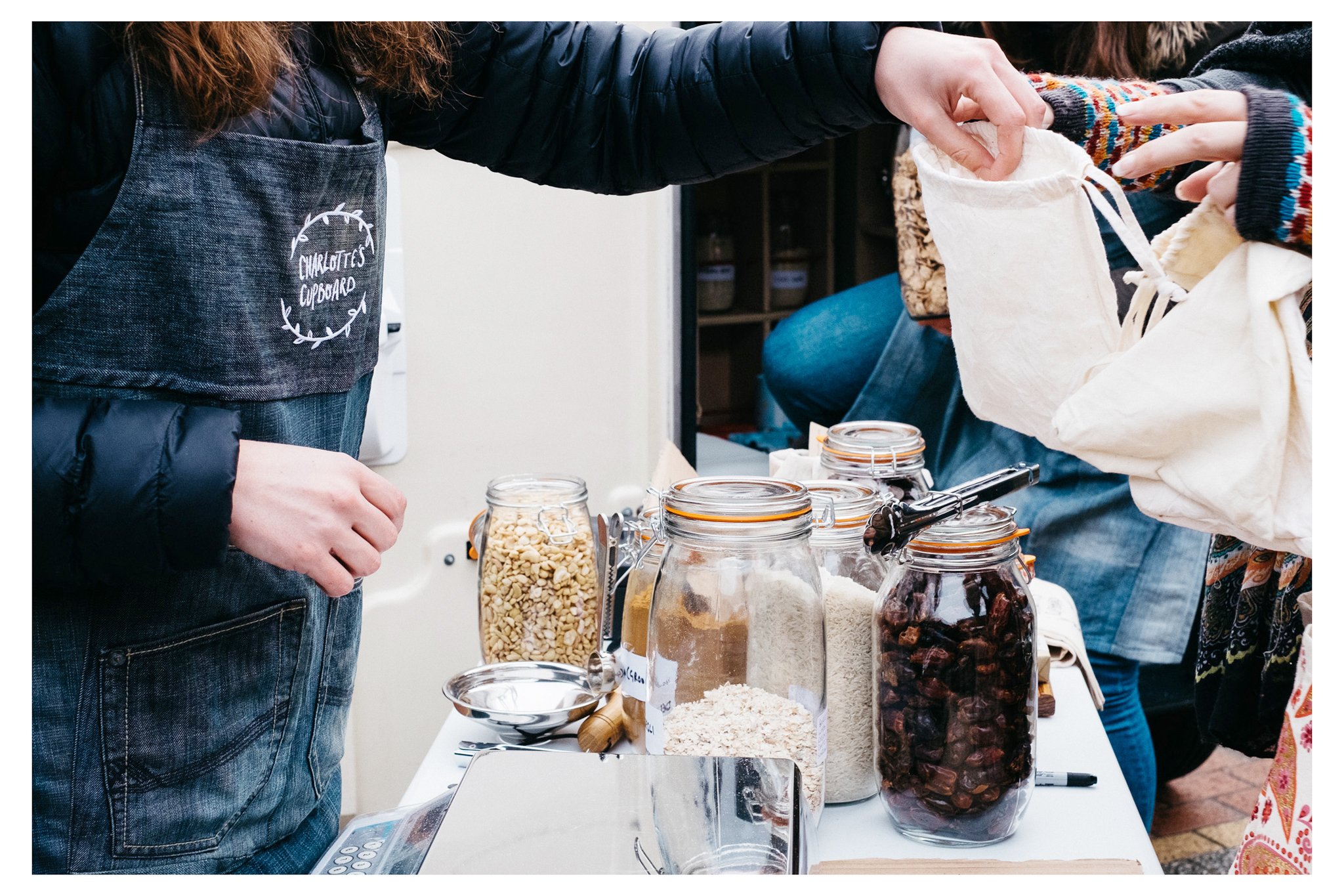 Charlotte's Cupboard is a packaging free venture in Sussex that offers home delivery or market days. You bring your own containers and pay only for the food!
