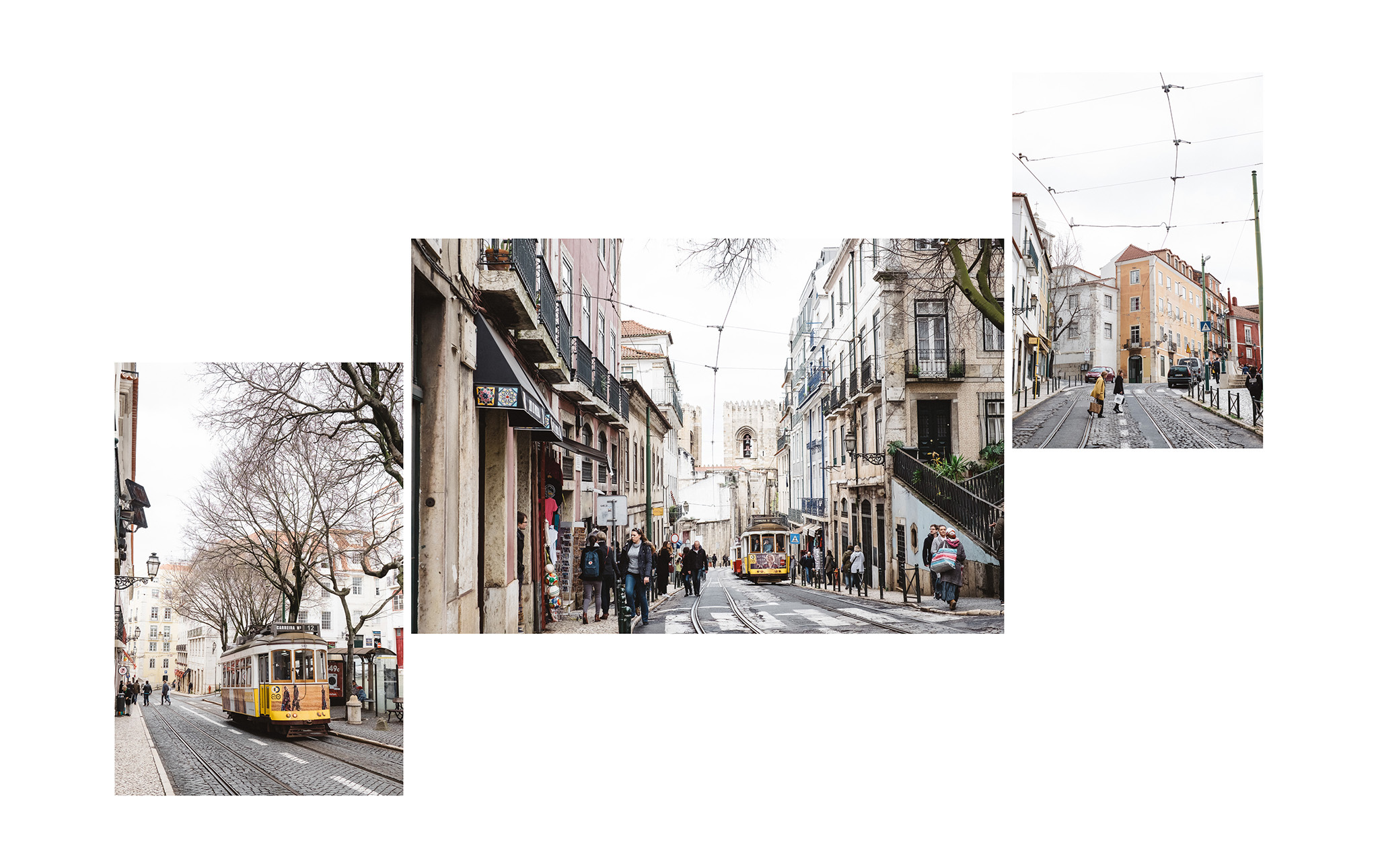 Trams in the streets of Alfama, Lisbon