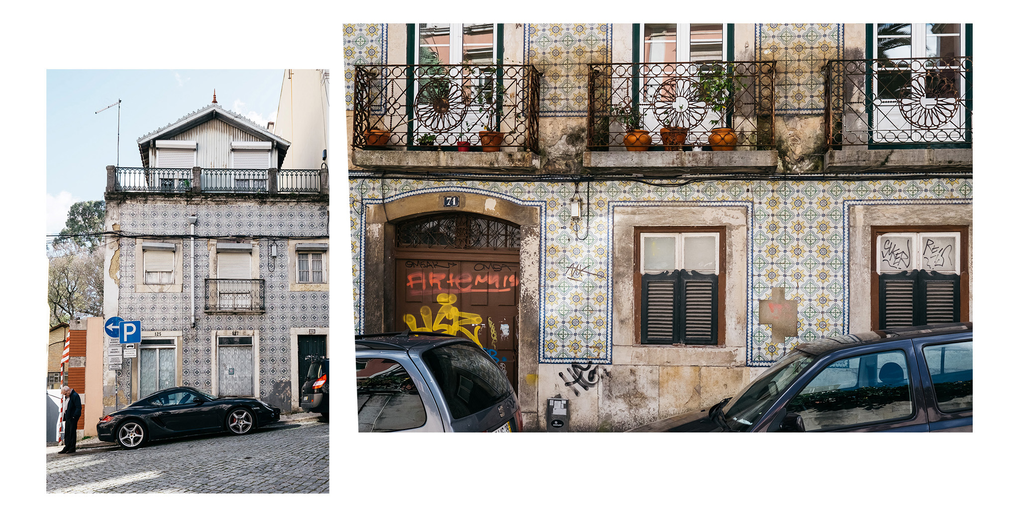 The Lisbon streets are littered with beautifully colourful Portugese tiles