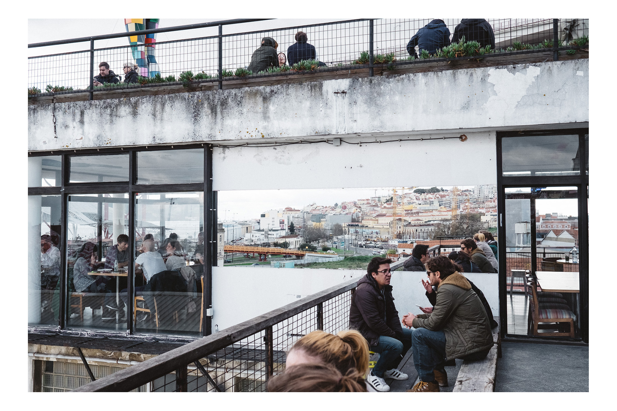 Drinks with a view at the LX Factory, Lisbon