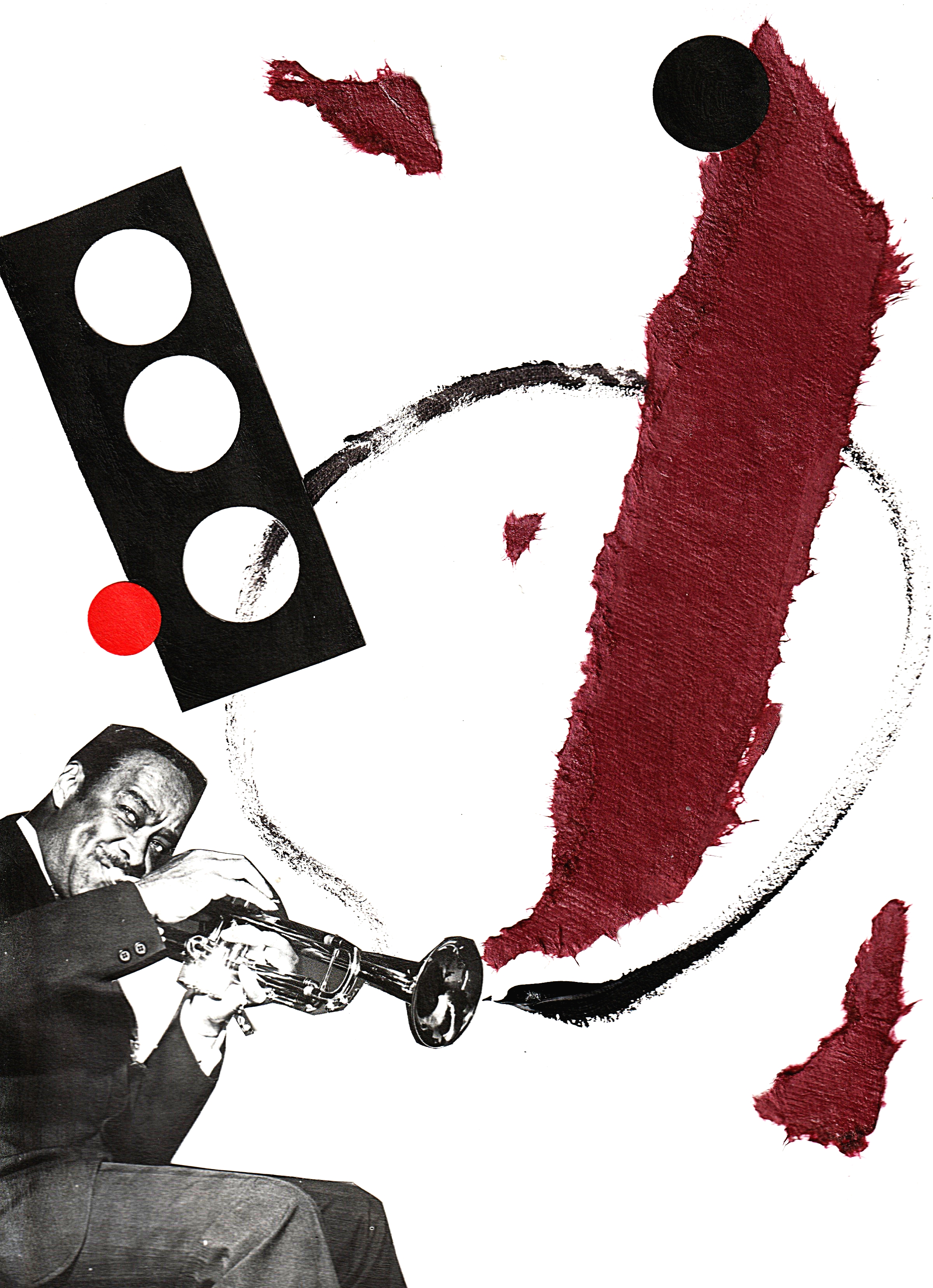 BUCK CLAYTON with hand made paper tears, cut and paste