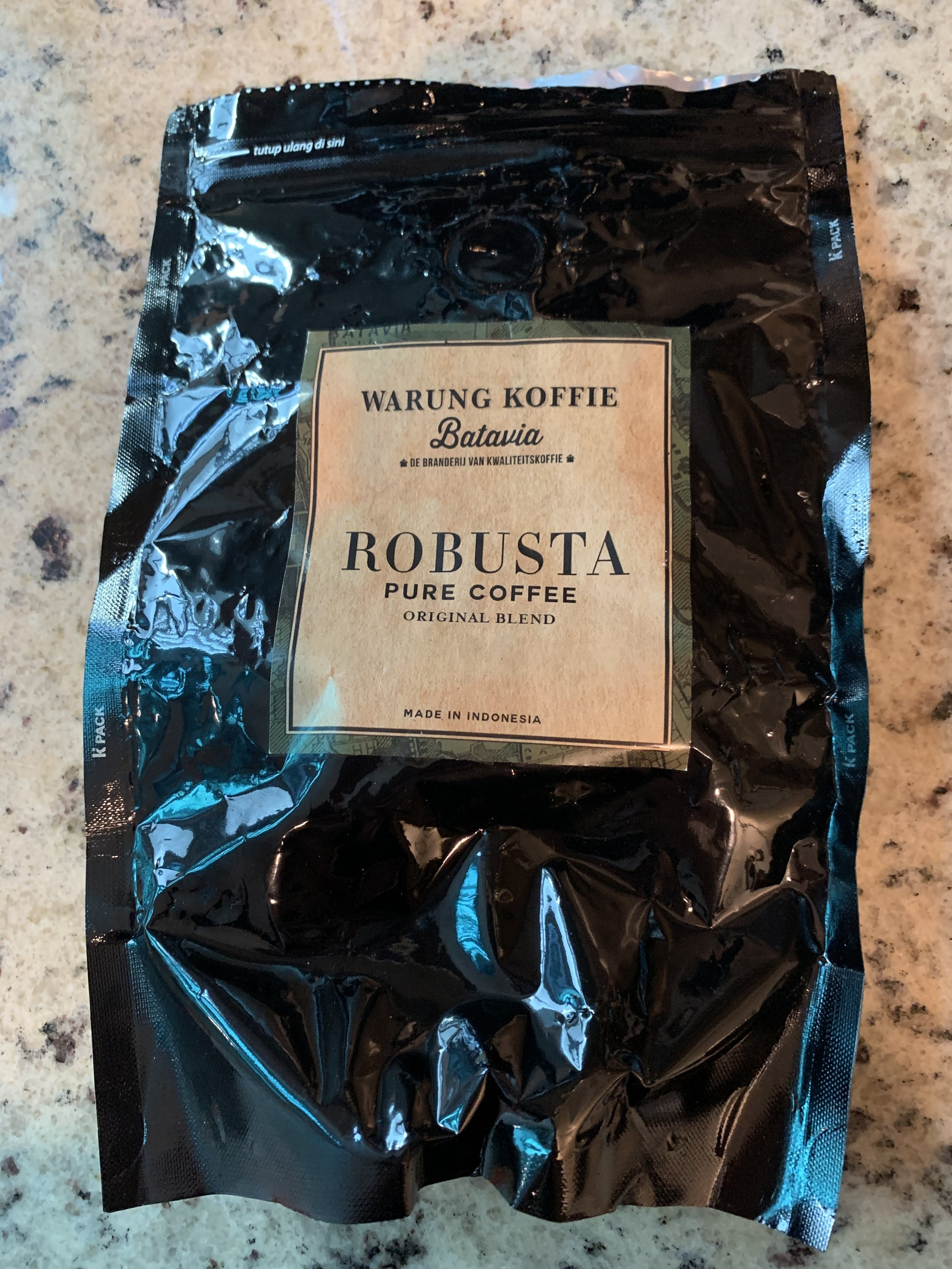Warung Koffie Batavia - A bag of these Robusta beans was picked up on a trip to the Indonesian capital city of Jakarta at a Dutch colony inspired coffee shop. I knew Indonesian coffee was strong but this roast was perfectly dark, chocolate, velvet, butter, and caramel. If you're ever in Jakarta, pick up a bag of their beans. Warung Koffie Batavia is a restaurant serving up rijsstafel (rice table) and other typical Indonesian dishes and snacks.