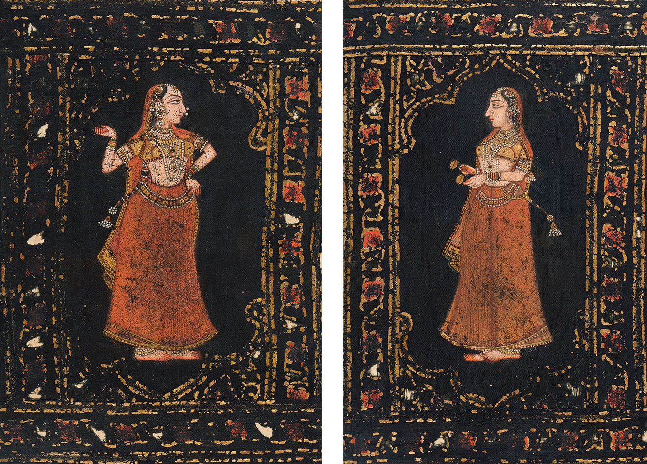 Fragments of a pichwai depicting gopis , mid to late 18th century  Mineral pigments & gold, painted & block printed on cotton fabric; H. 19.8 cm, W. 14 cm From the Textiles, Craft & Design collections at MAP; Gifted by Francesca Galloway