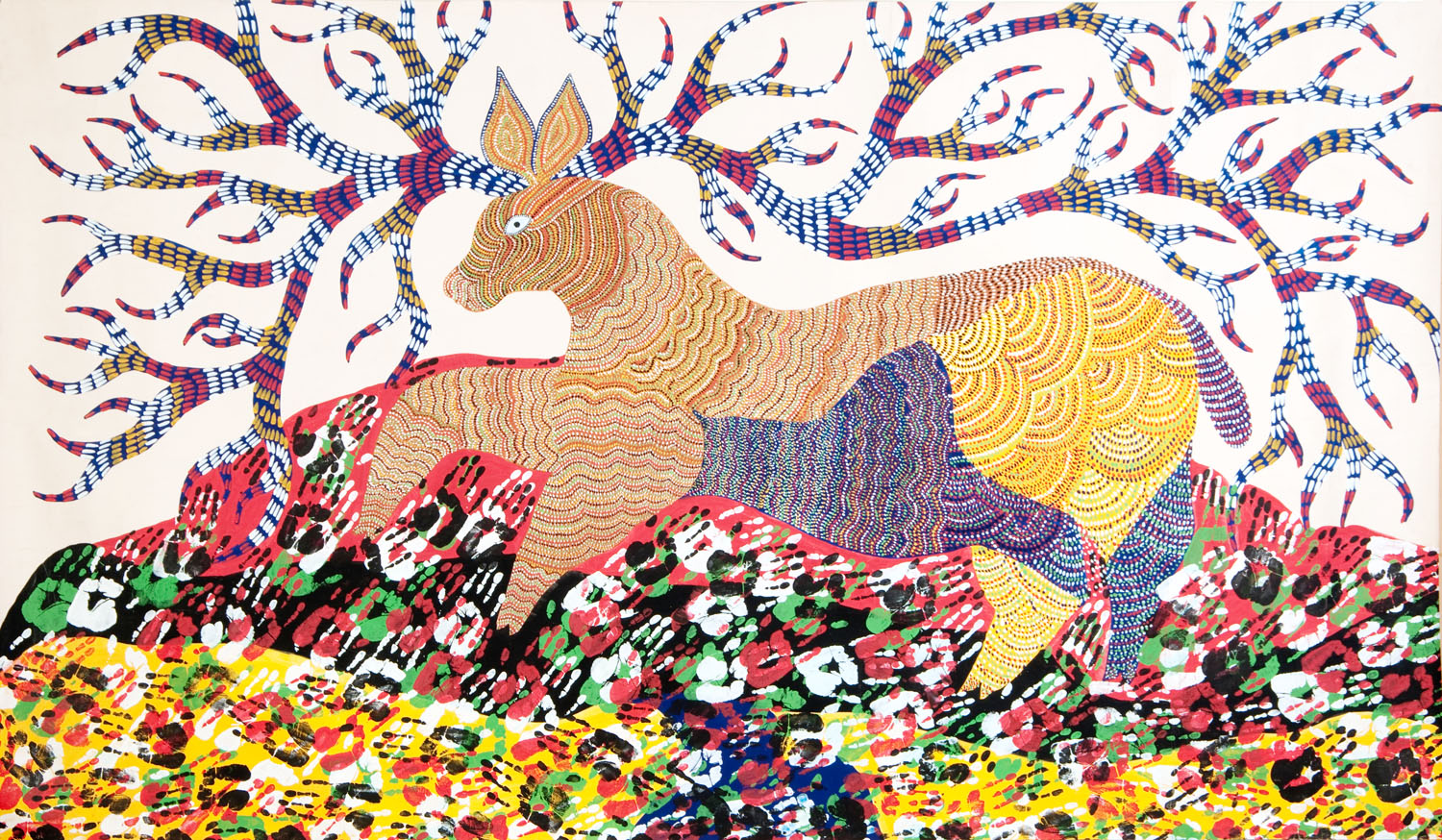 Antelope,  Jangarh Singh Shyam, c. 1990   Poster colour on paper; H. 137 cm, W. 233 cm From the Traditional & Ethnic Art collections at MAP