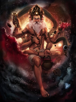 In Hindu mythology, Lord Brahma (ព្រះព្រហ្ម)is the progenitor of all reality.