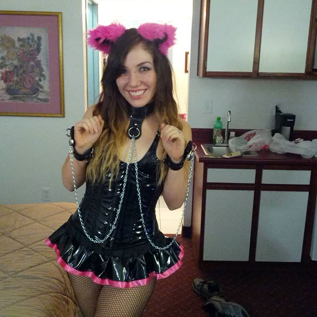 """Flashback to our first """"fetish"""" event - the fetish Halloween ball in Vegas. It was...not good... #pvcfashion #catgirl #submissive #fetishfashion #sexyhalloween"""