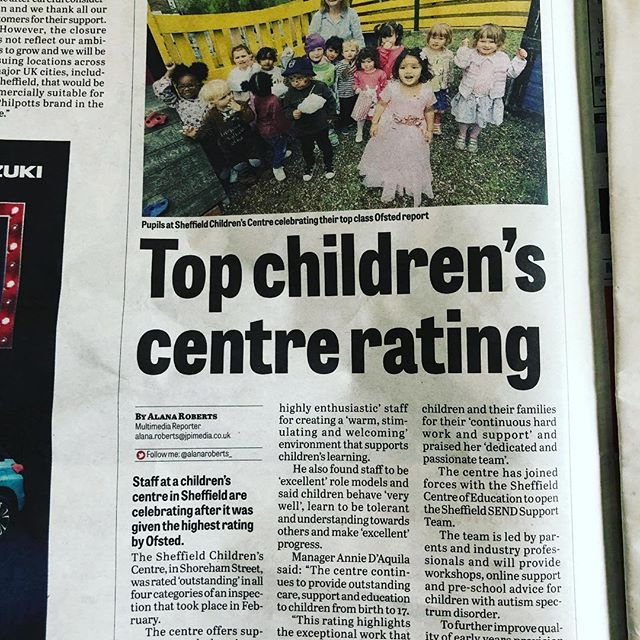 Thank you @thesheffieldstar for covering our recent Ofsted report. Check out the online article https://www.google.co.uk/amp/s/www.thestar.co.uk/education/ofsted-inspector-praises-outstanding-sheffield-children-s-centre-1-9745094/amp 🎉🎊🎊 #ofsted #ofstedoutstanding #childcare #eyfs #autism #journalist #thesheffieldstar #sheffield #sheffieldissuper #sheffieldbusiness