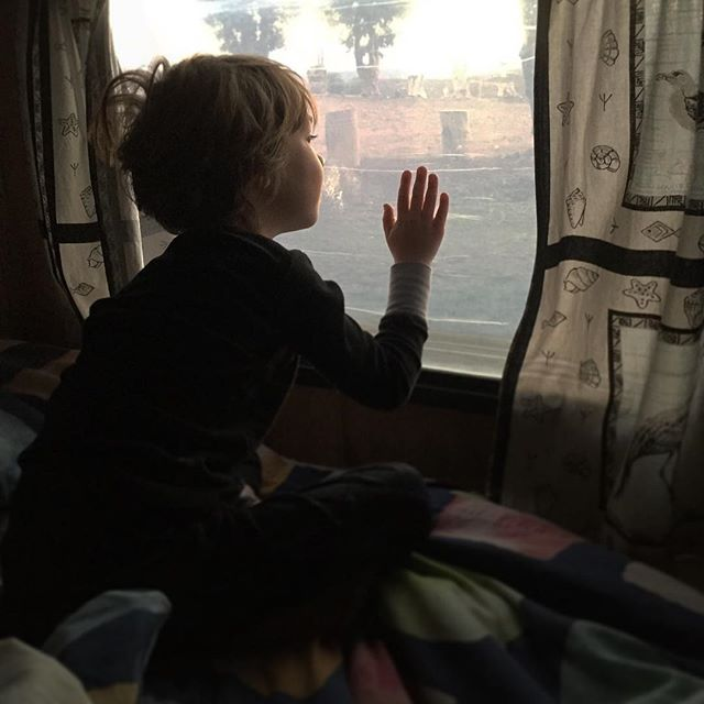 The childhood excitement at waking up in a caravan in the Karoo. . . #familyroadtrip #karoo #caravaning