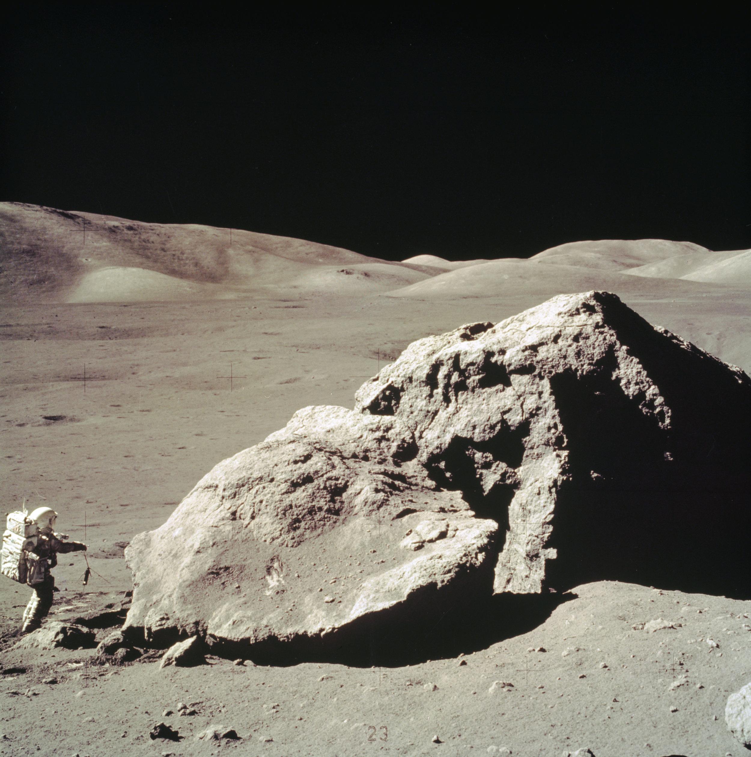 Apollo 17 Harrison H. Schmitt collects rock samples near the Taurus-Littrow Valley. Image credit: NASA/MSFC