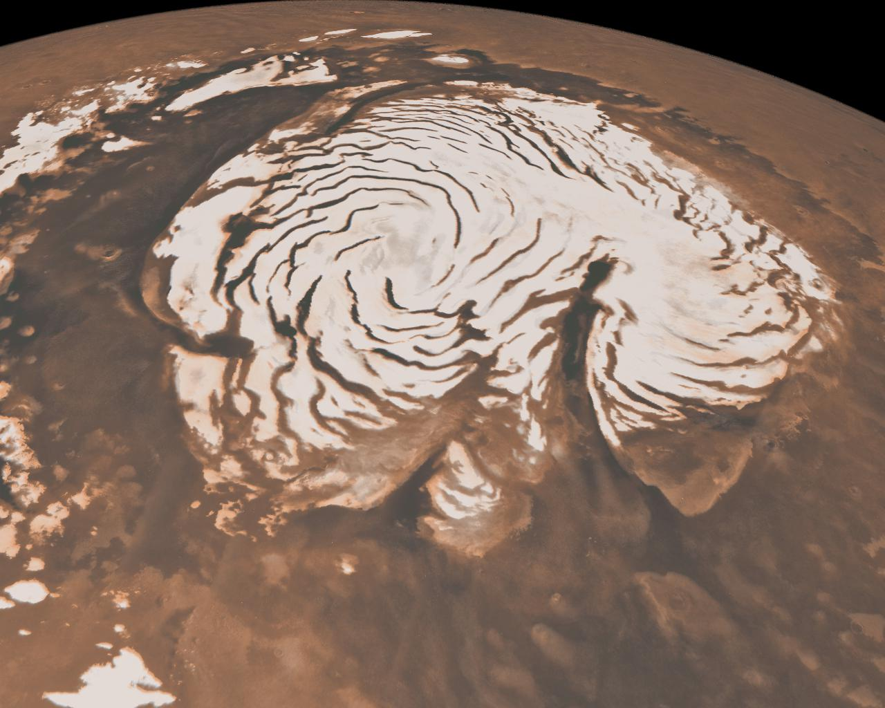 Northern ice cap. Image credit: NASA/JPL/Caltech/MSSS