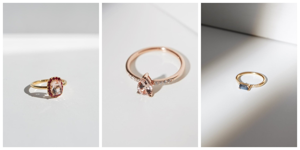 From left to right:  Halo Ring with Morganite and Rubies in Gold  ,   Pira Ring with Morganite and Diamonds in Rose Gold ,  Baguette Ring with Blue Spinel and Diamonds in Gold