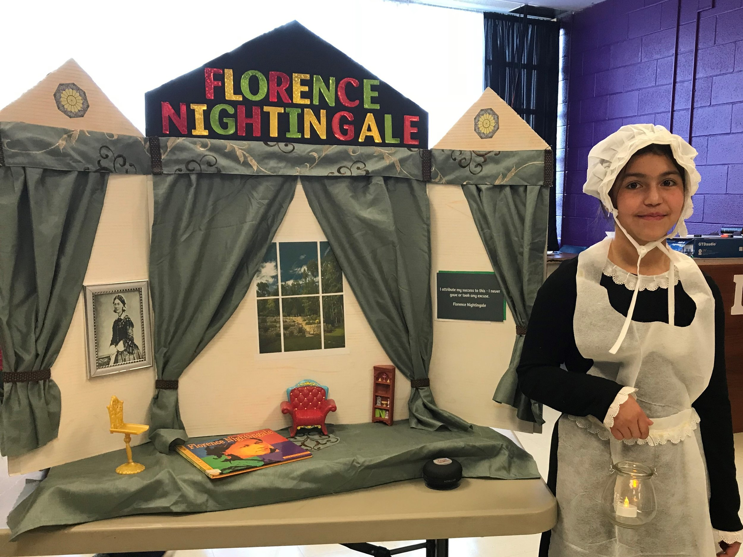 Camila Morales-Fernandez received 2nd place for her portrayal as Florence Nightingall.