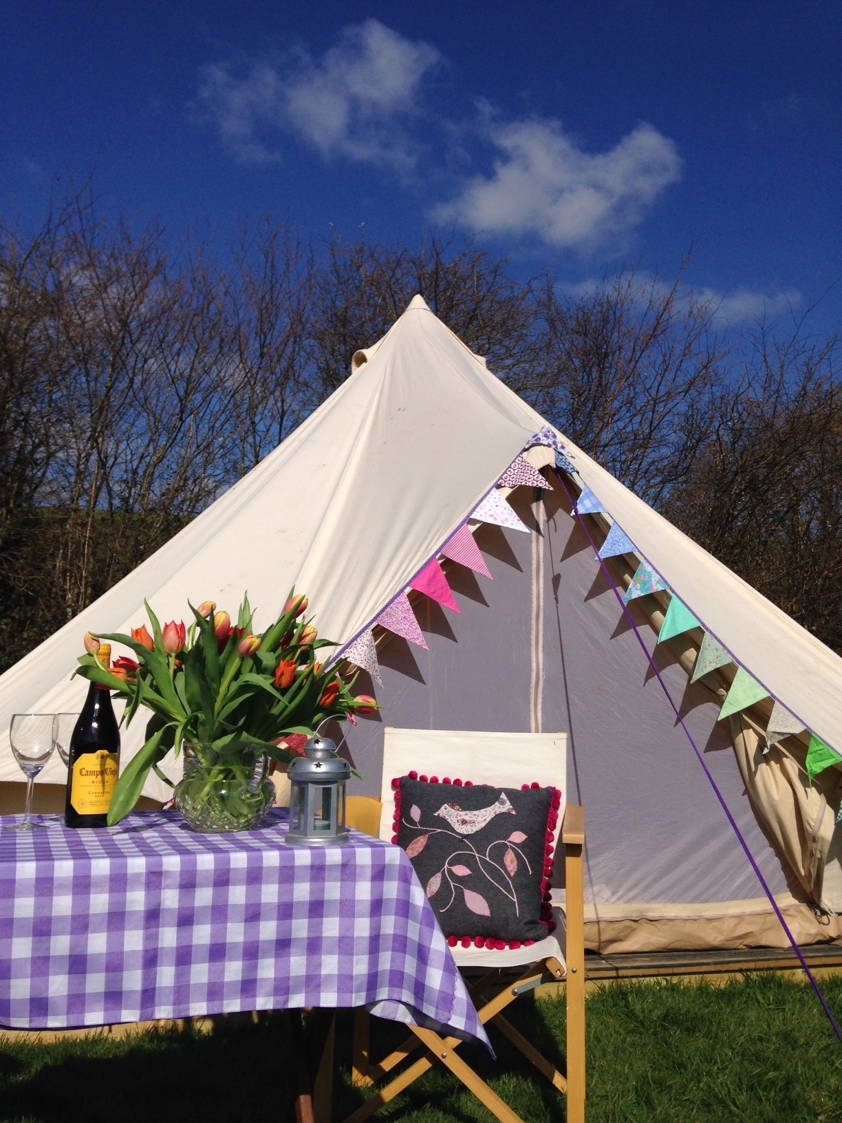 Bell Tent - The perfect mix of camping and comfort, ready pitched with all the essentials. We have one bell tent and we are taking bookings. The bell tent is ready pitched, complete with bedding, chairs, table, etc. Please ring or email for further information. To book the bell tent you can email tinhayretreats@gmail.com or phone 01566 784990.
