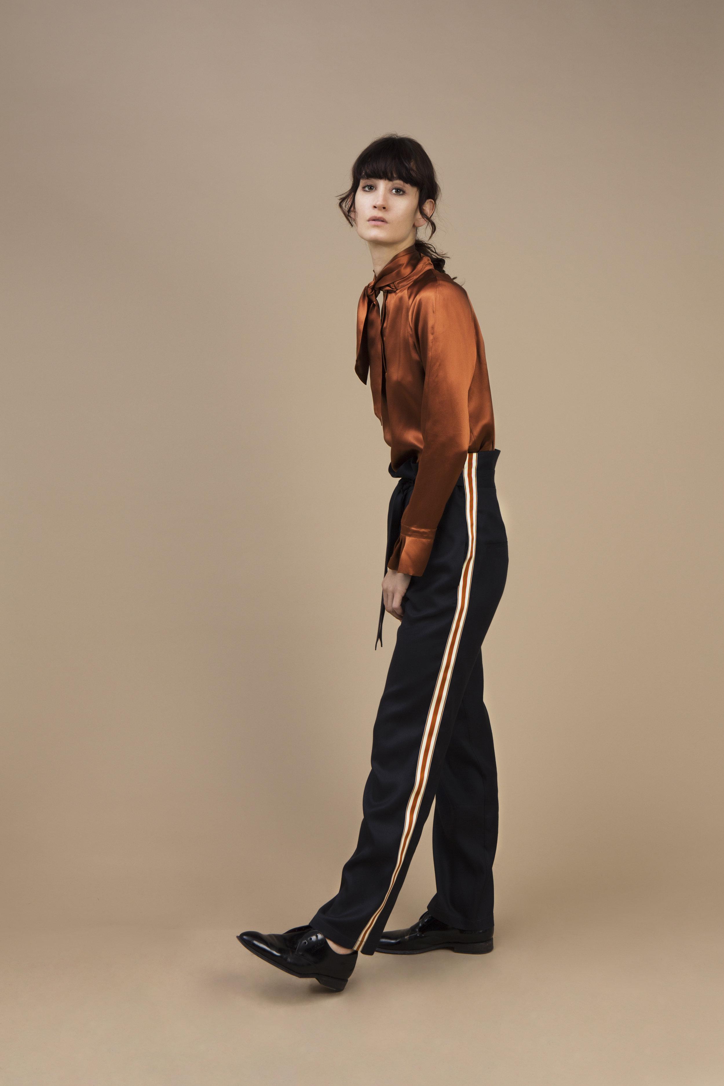 Crepe satin silk Ascot top - amber brown and morrocan crepe silk Highwaist pant — Black