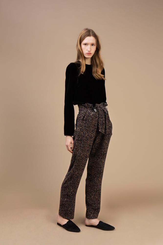 Black velvet long sleeves top and Highwaist Pant in crepe silk — Wild Cat