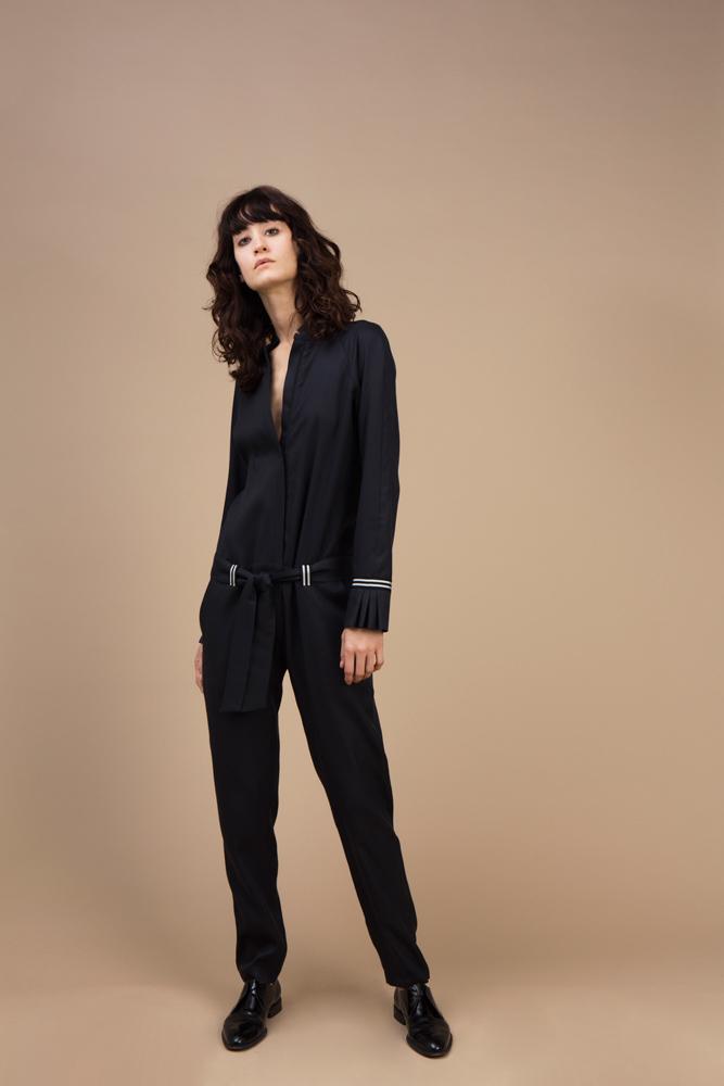 Moroccan crepe silk jumpsuit — Black