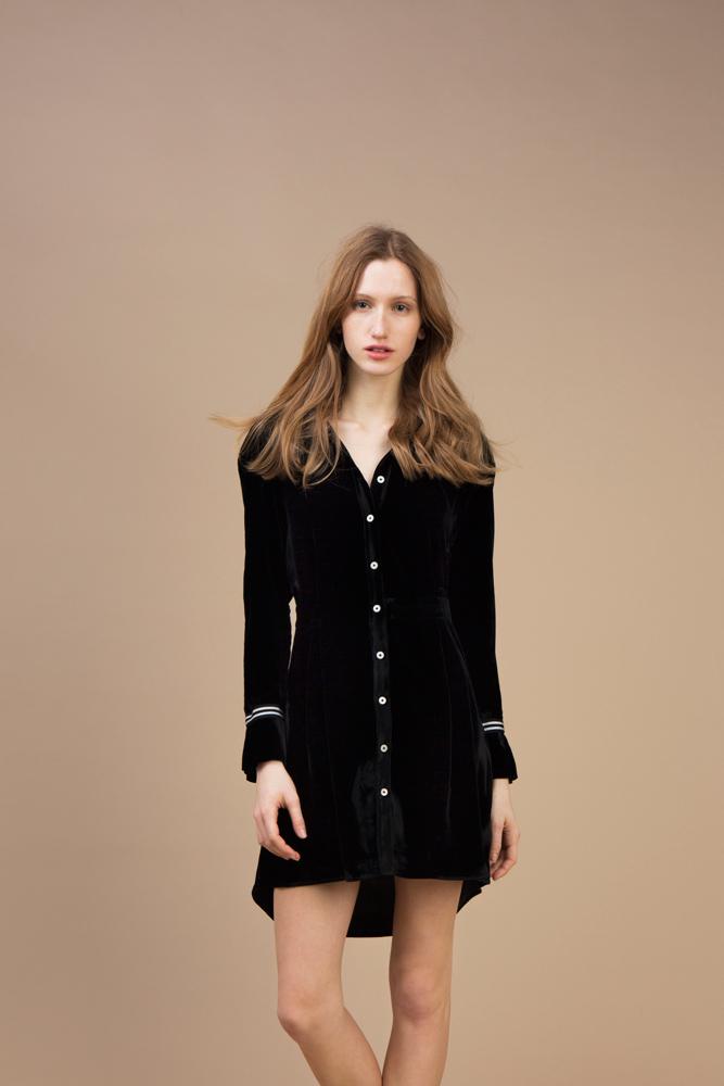 Black velvet Short and asymmetric dress