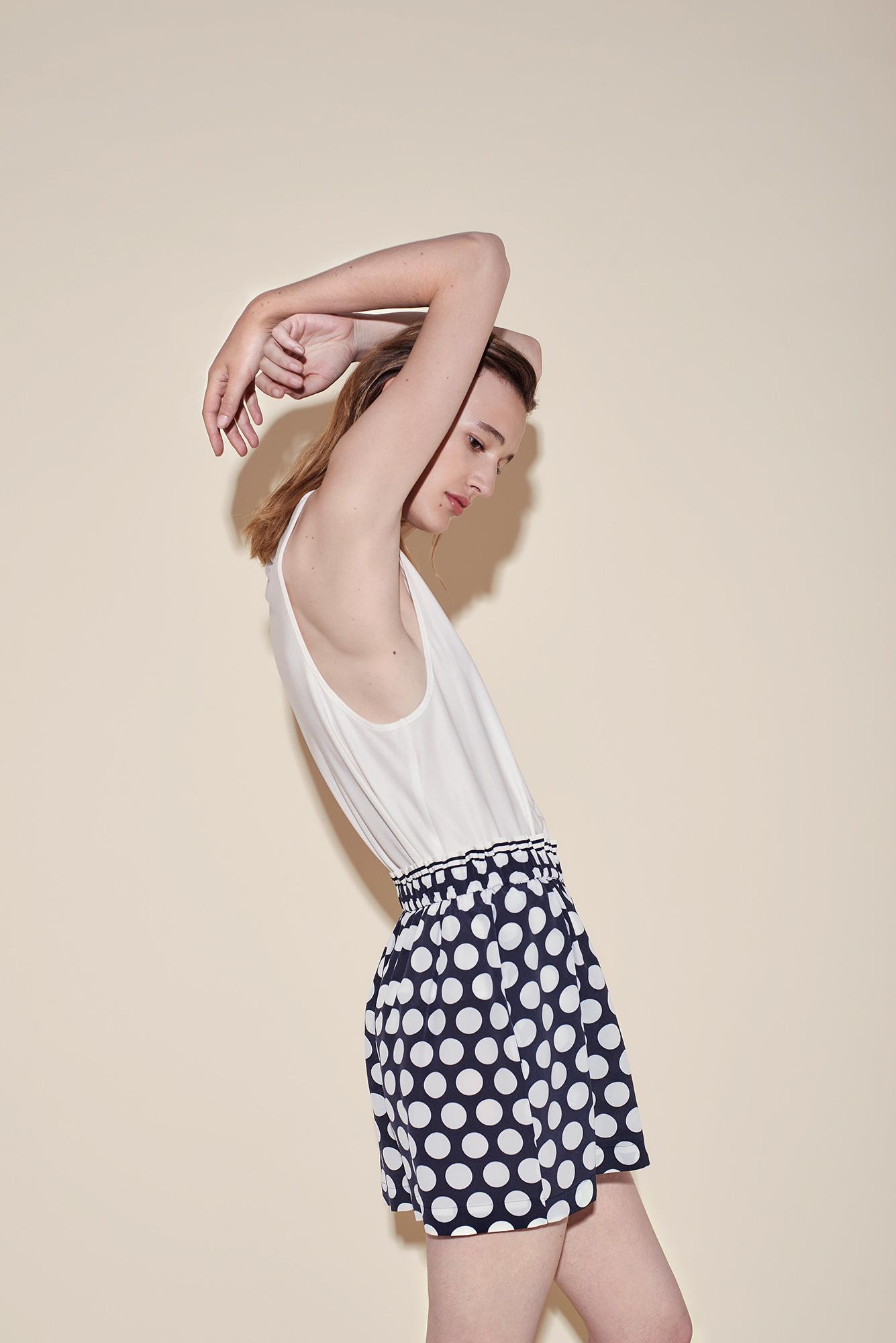 Short crepe silk polka dots white – Tank top silk jersey white