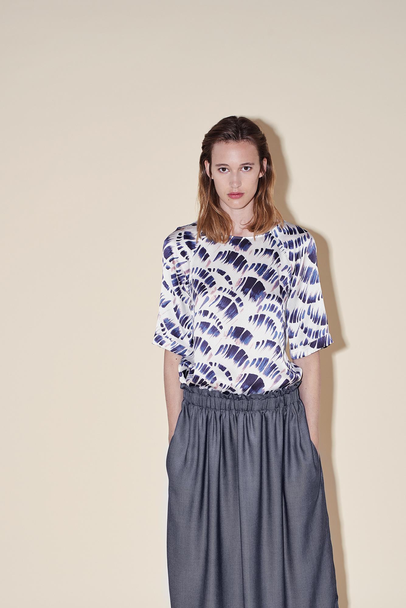 Long skirt silk denim – eblow sleeves top silk seersucker big brush