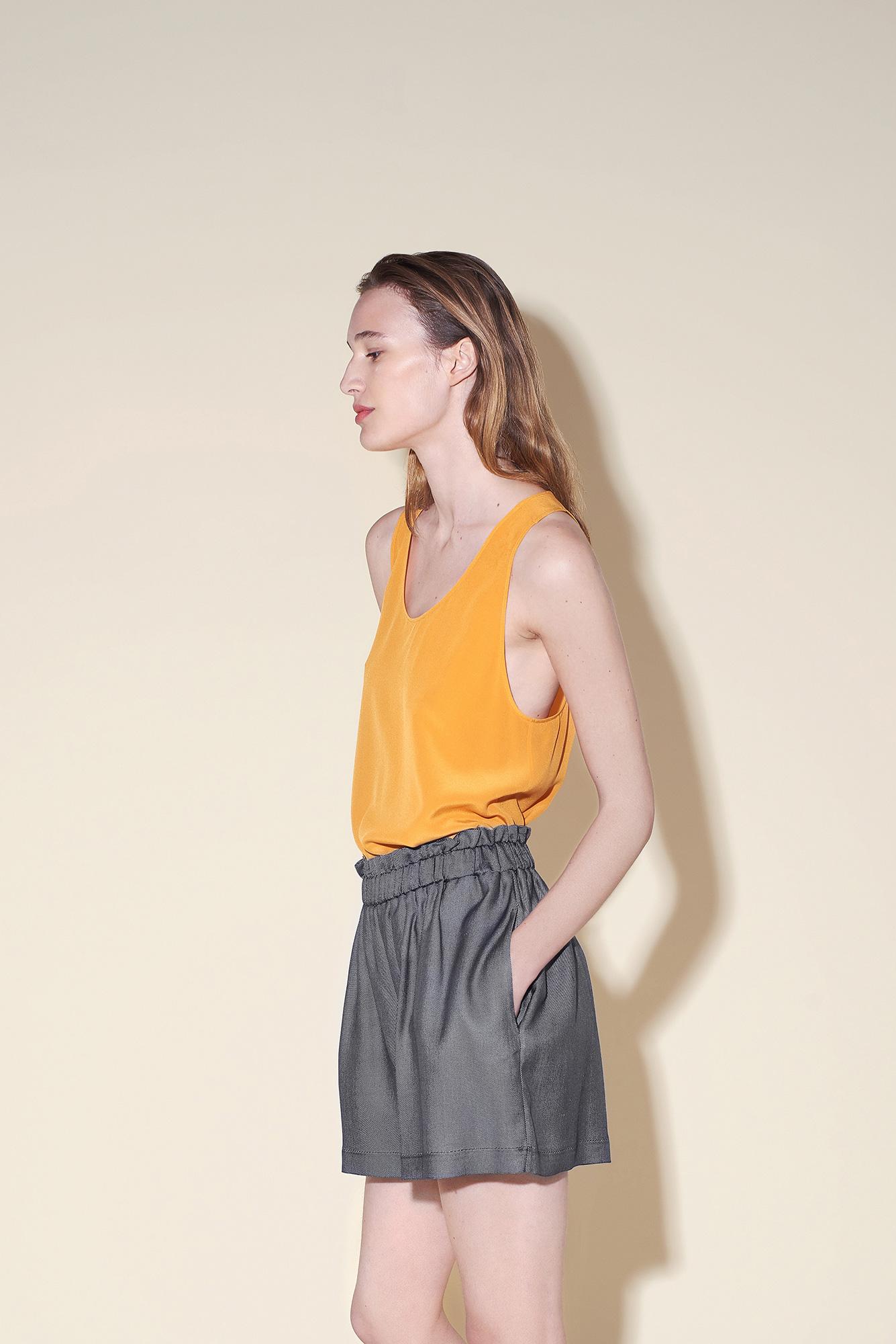 Tank top silk crepe orange – Short silk denim
