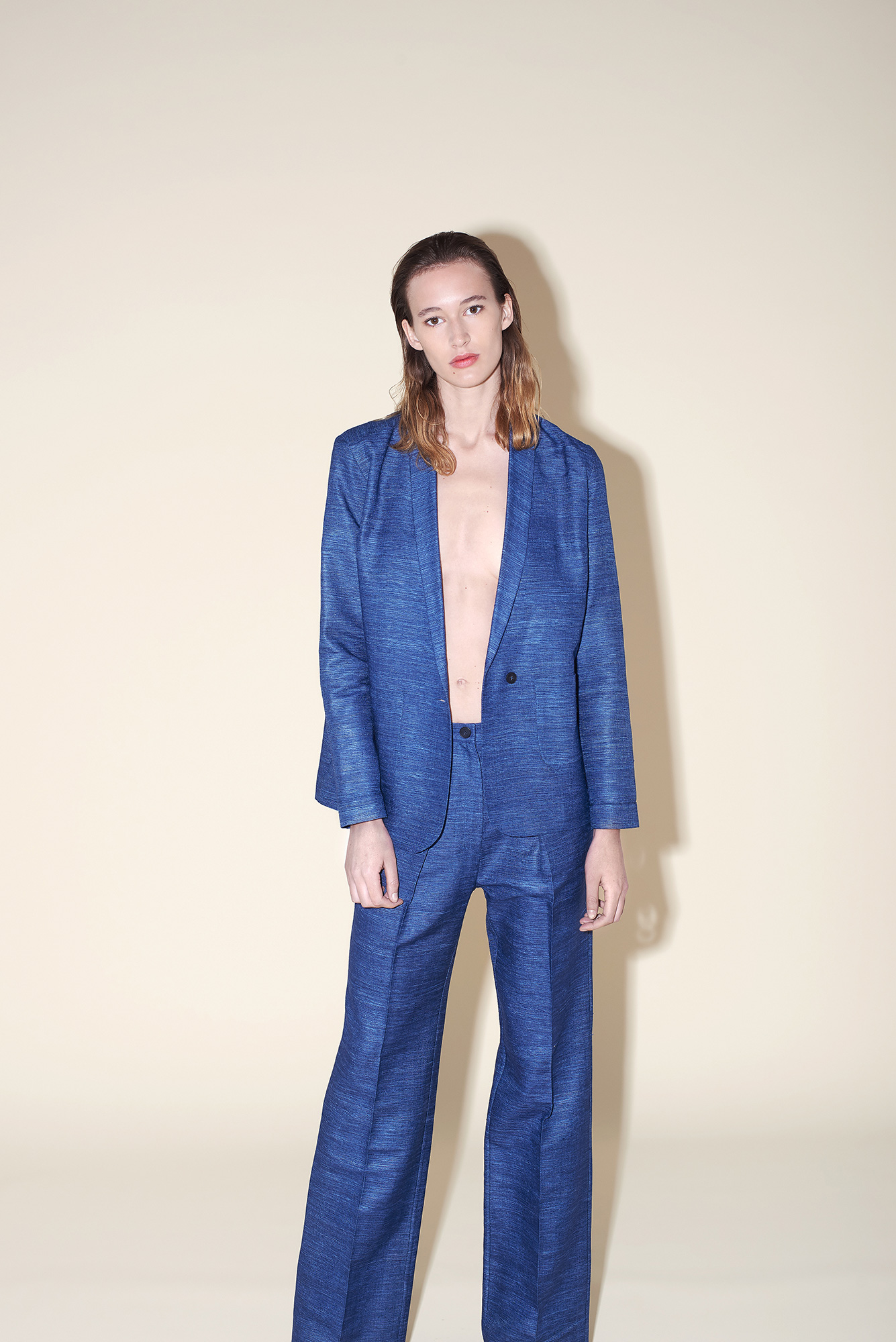 Straight cut jacket – Large pant woven silk blue
