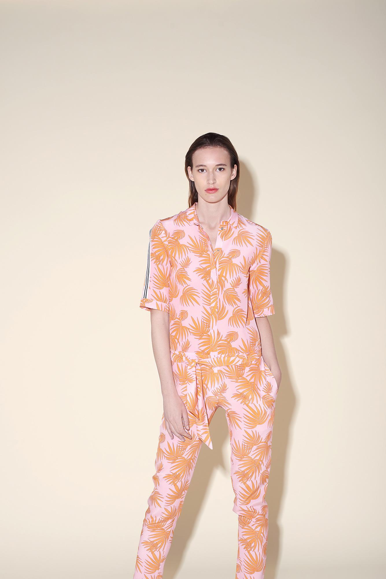 Jumpsuit silk crepe tropical orange