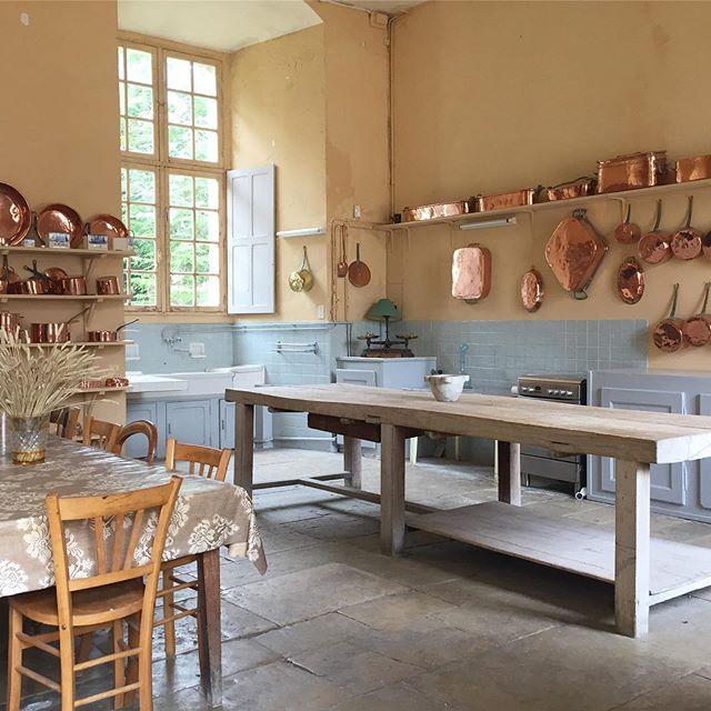Beautifully warm interiors at Chateau Tanlay. — #france #interiors #historicinteriors #silktextiles #kitchen #traditionalcraft #frenchcraftsmanship