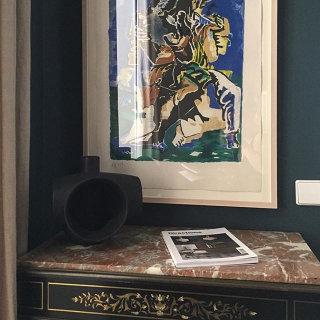 Lithograph by Ossip Zadkine beautifully exposed on a midnight blue wall. — #art #ossipzadkine #france #bedroomstyling #antiquechest #interiordesign #thelistbyhouseandgarden #farrowandball