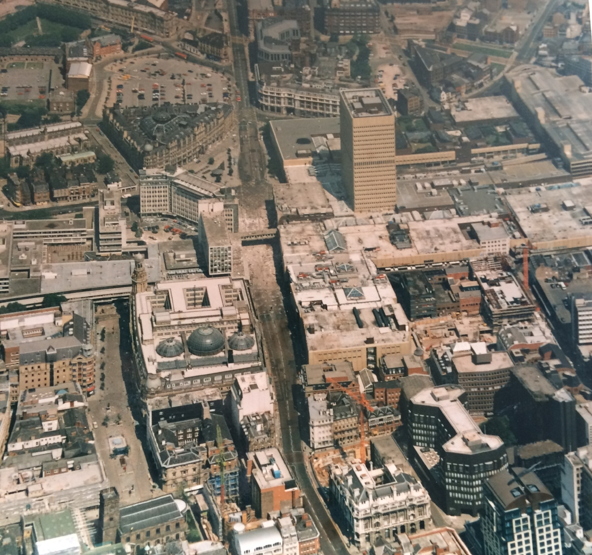 Aerial view of Manchester in 1996 following the terrorist bomb on Cross Street.