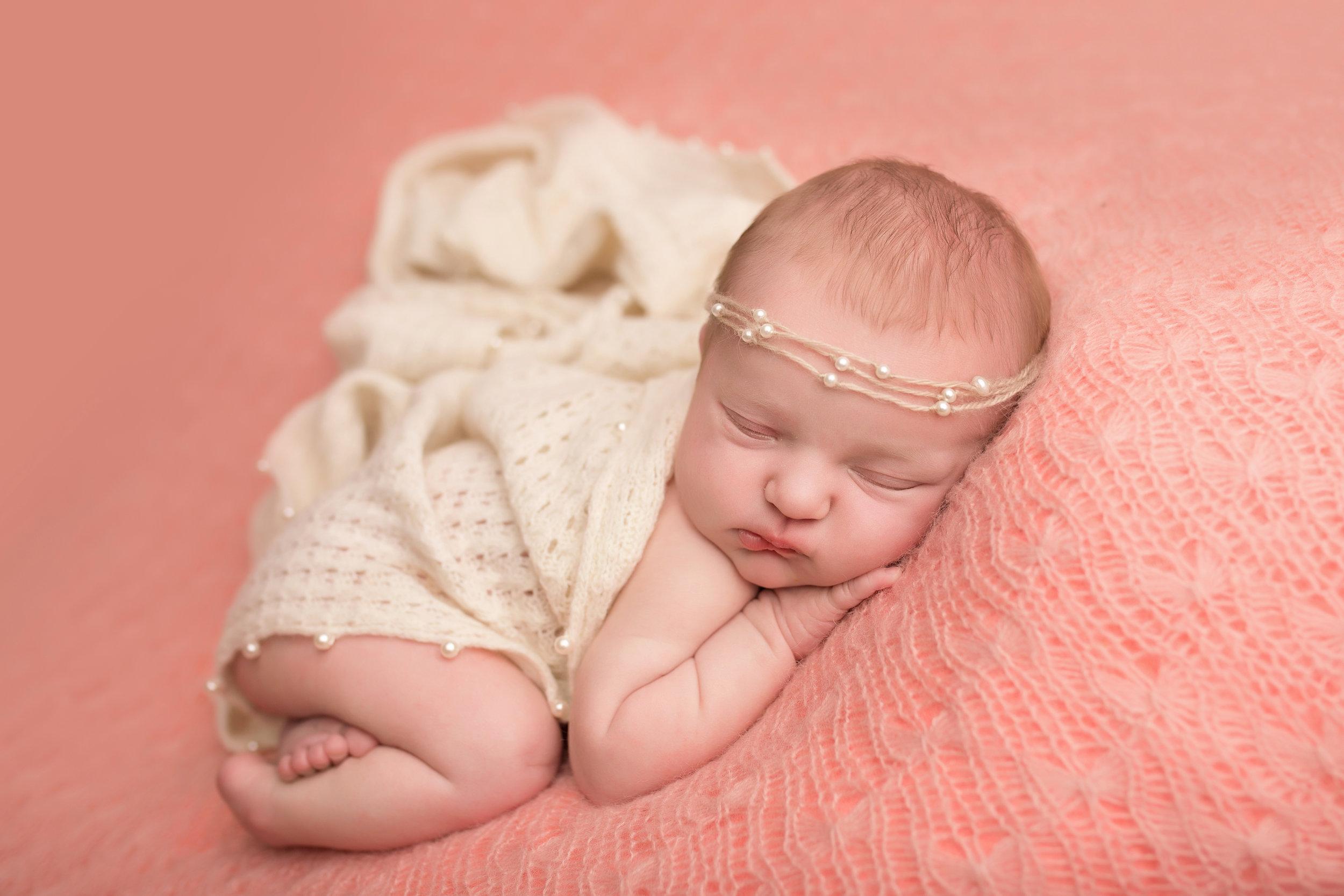 pink newborn portrait