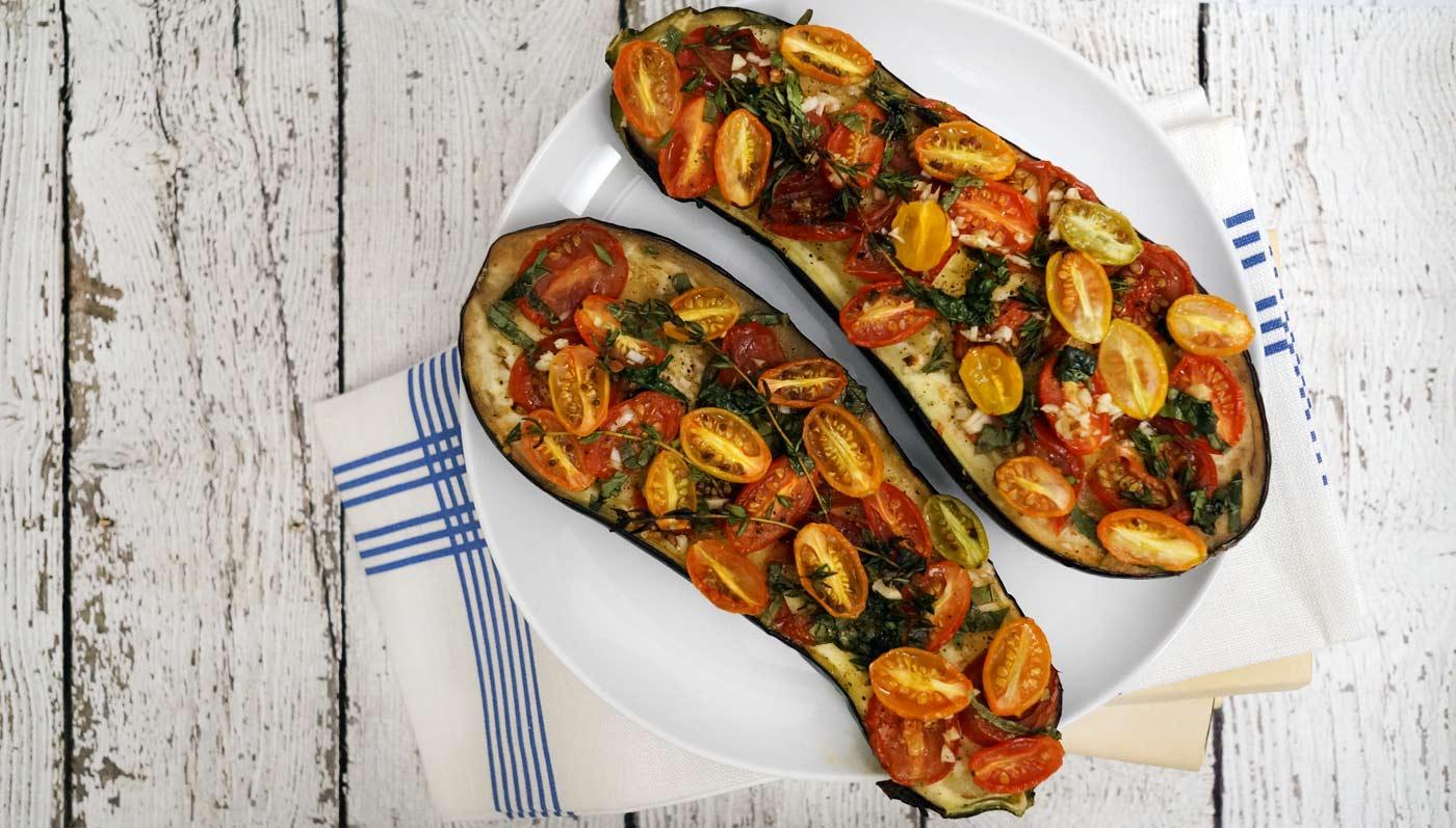 Heirloom Tomato Eggplant Bruschette