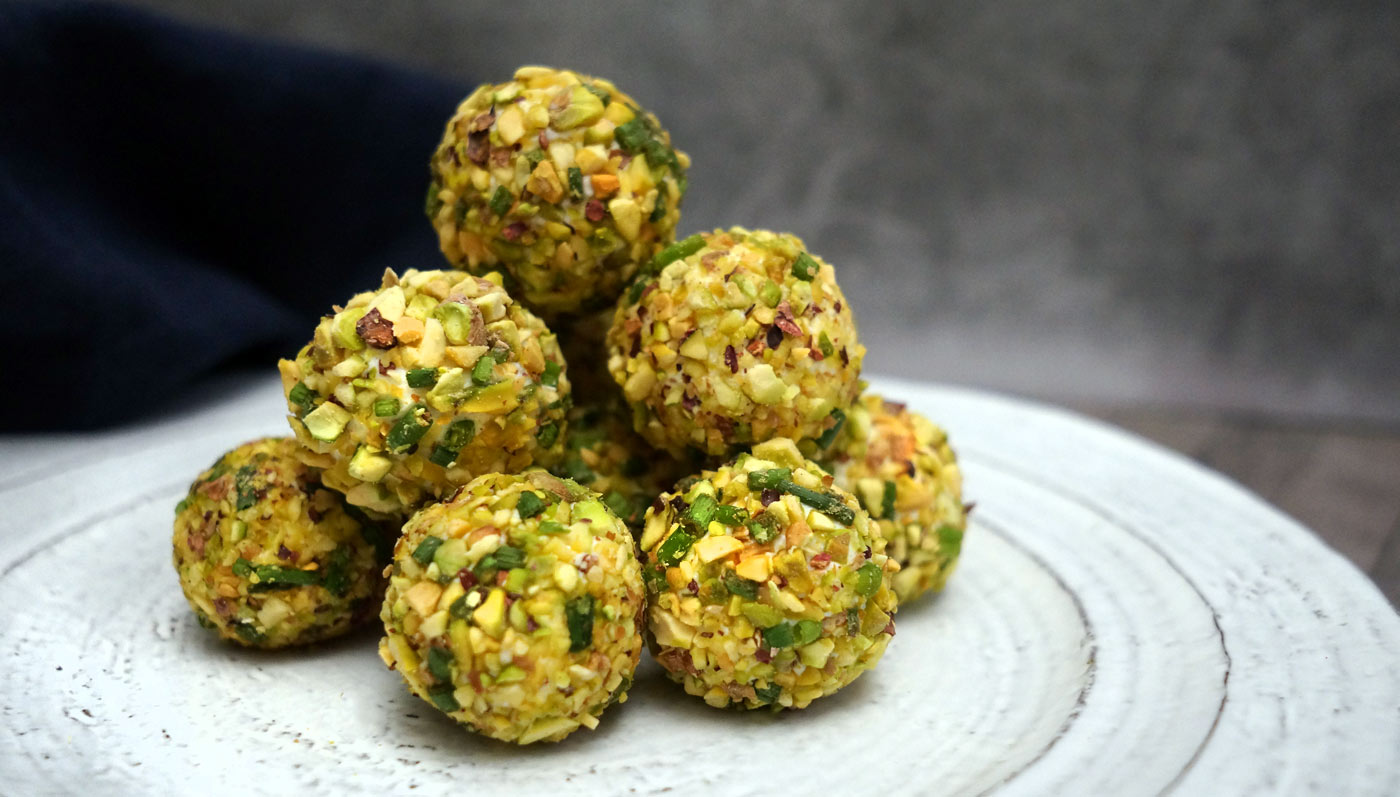 Bite Sized Pistachio Crusted Goat Cheese Balls