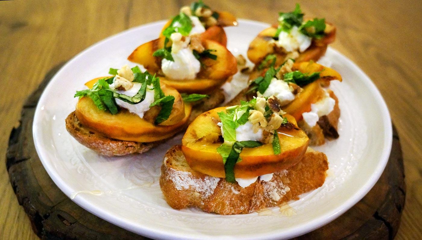 Peach And Burrata Bruschetta