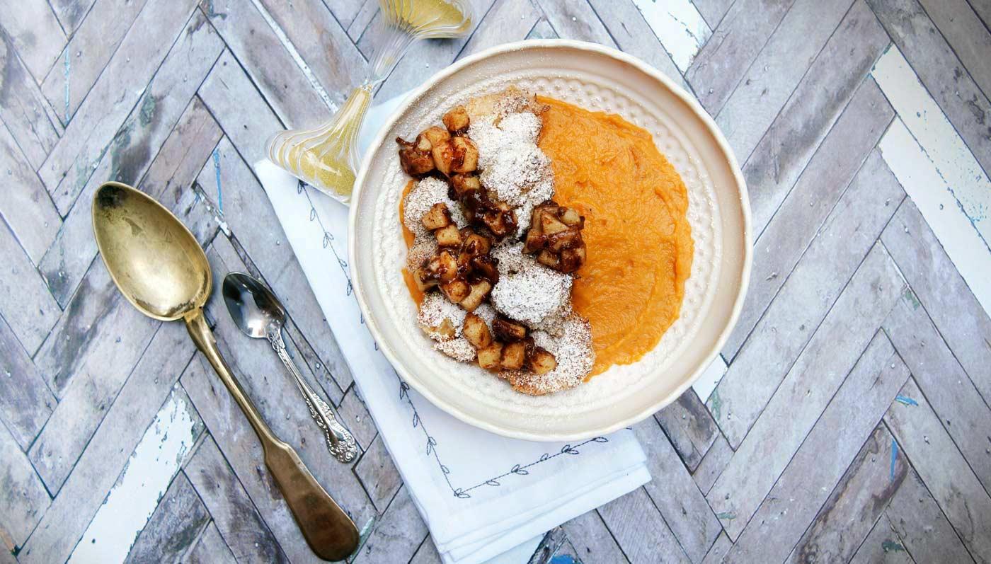 Sweet Potatoes With Pretzel Crusted Shrimp