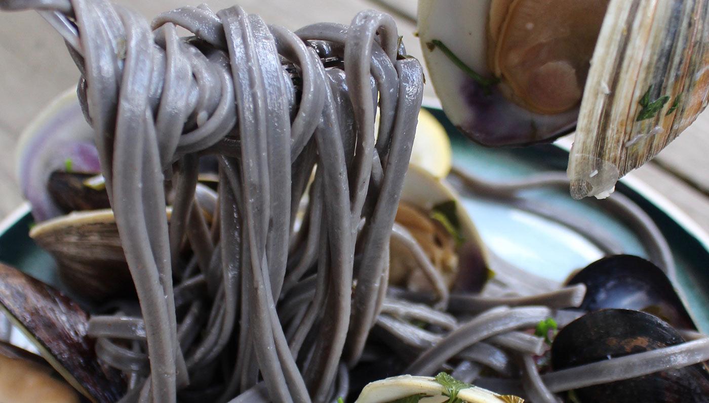 Coconut Water Shellfish Squid Ink Pasta