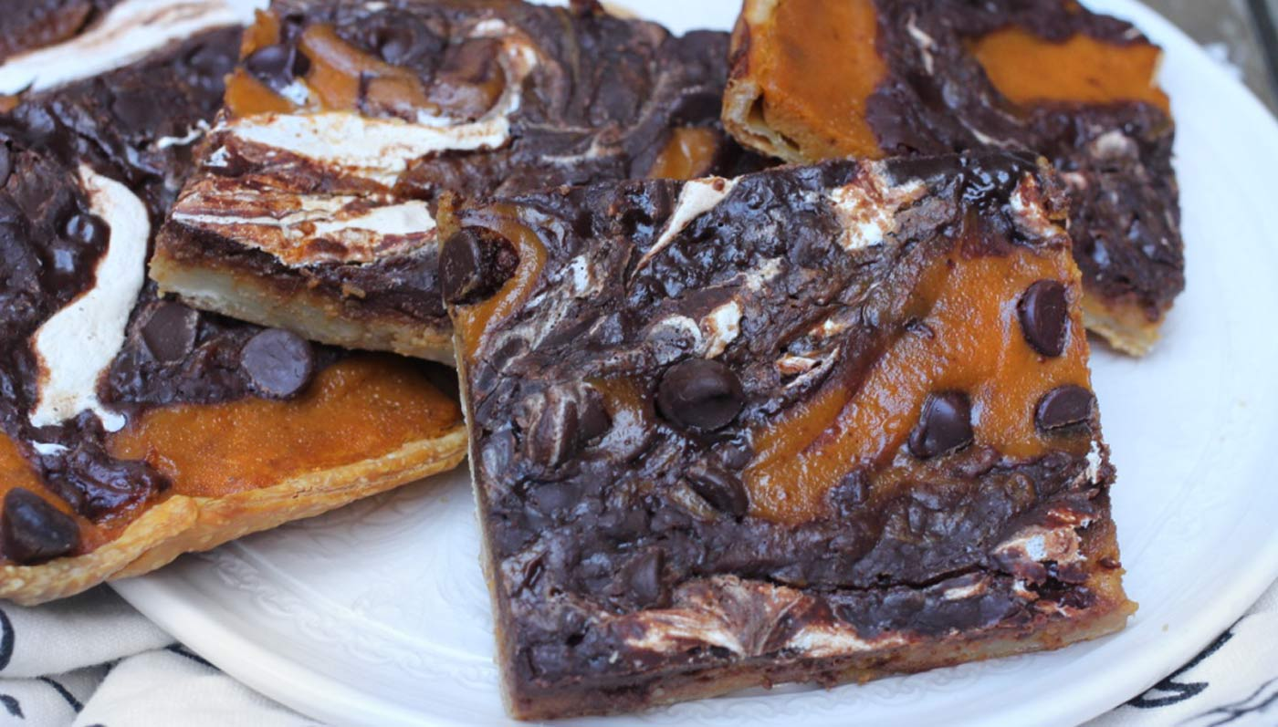 Chocolate Marshmallow Pumpkin Pie Bars