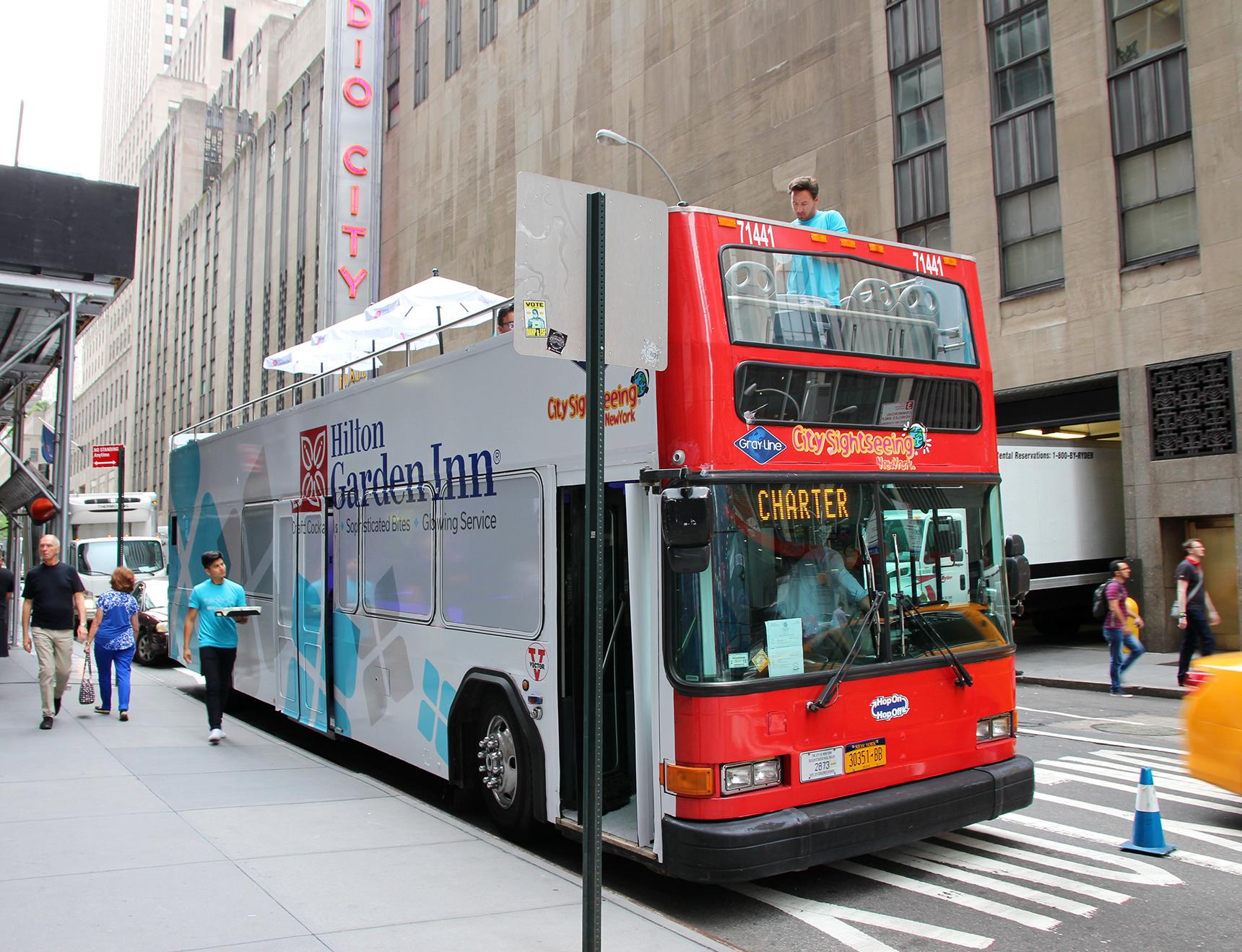 Hilton Garden Inn Double Decker Bus