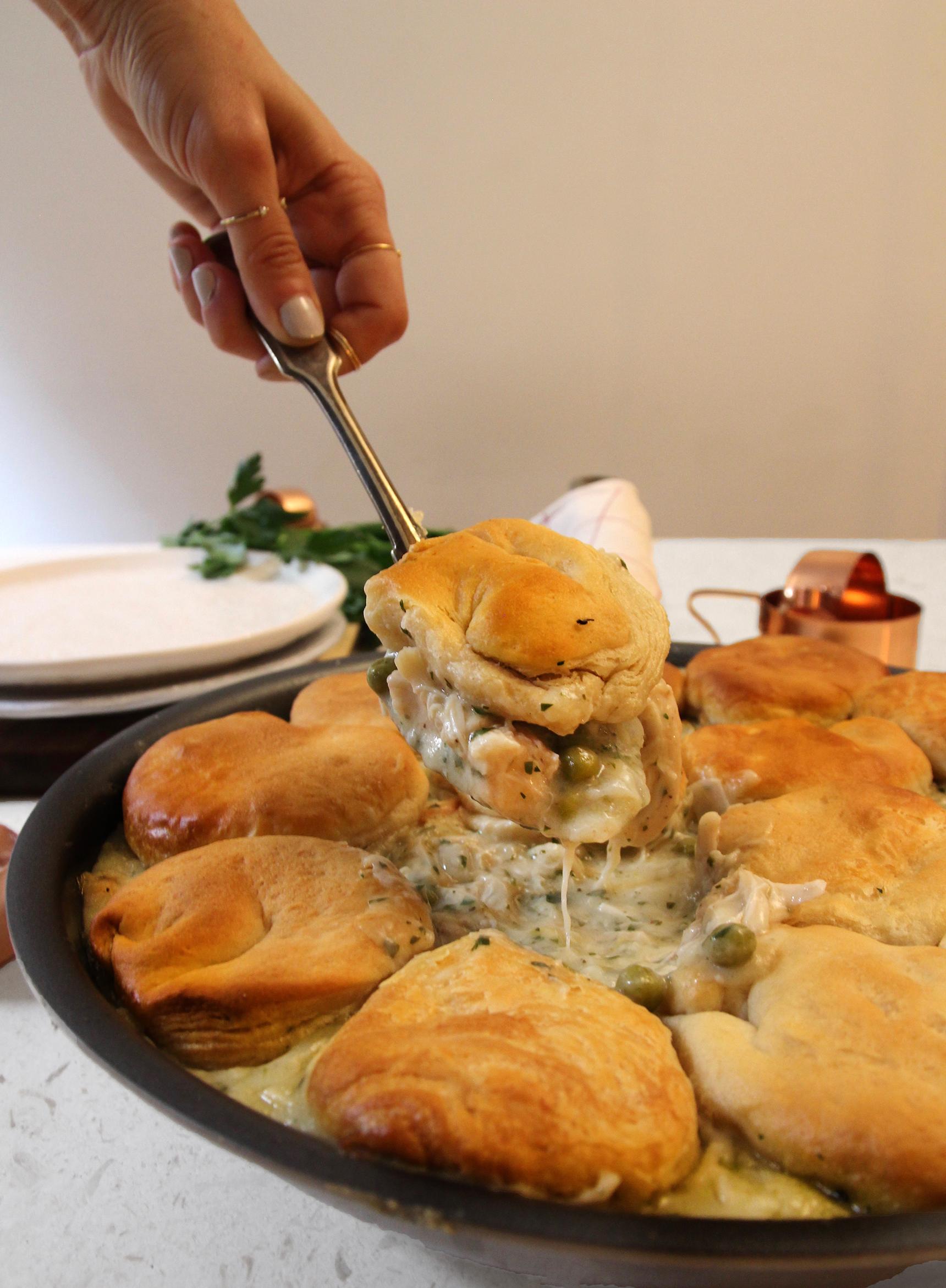 Skillet Chicken And Biscuits Pot Pie