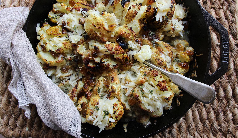 Hasselback Roasted Gruyere Cauliflower