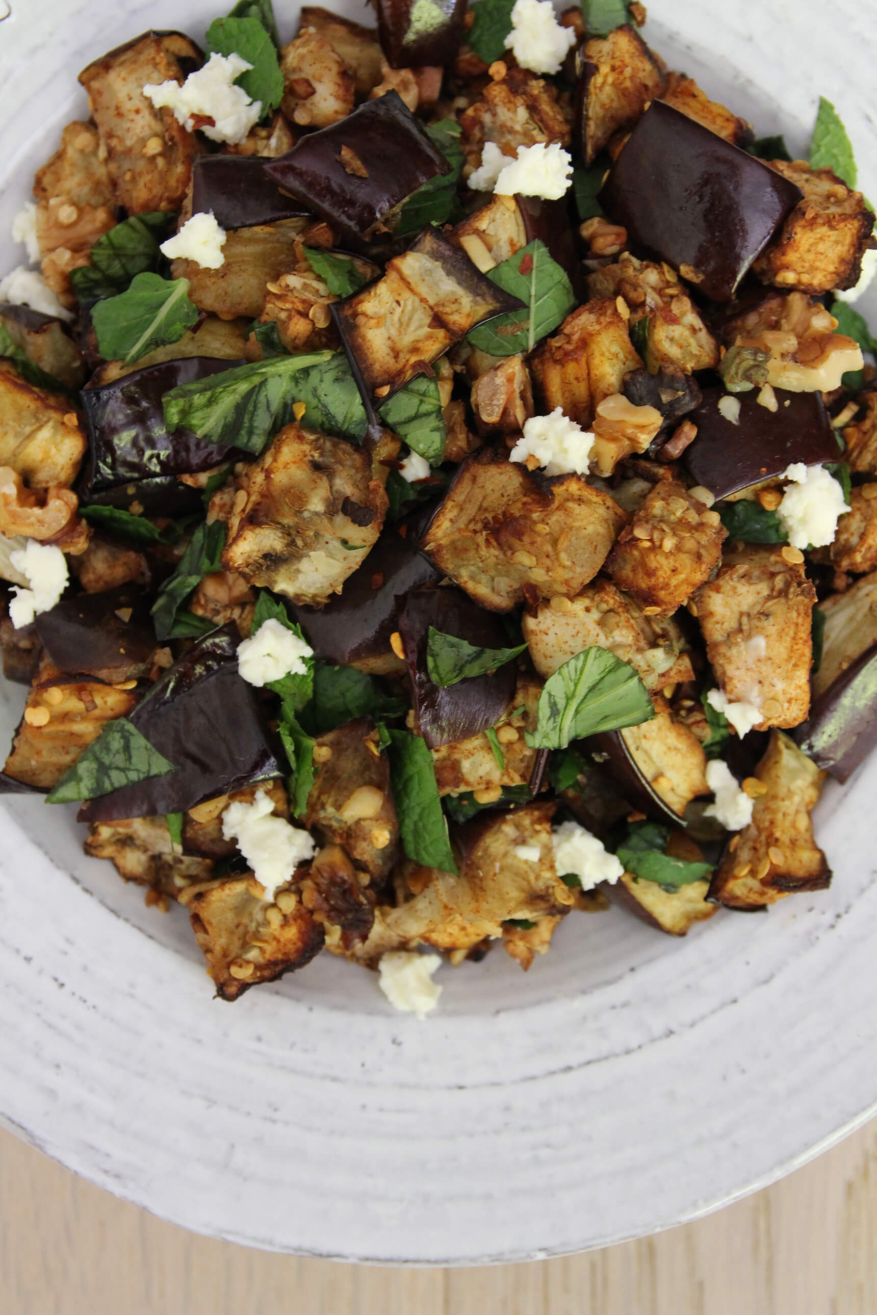 Roasted Eggplant With Basil And Mint