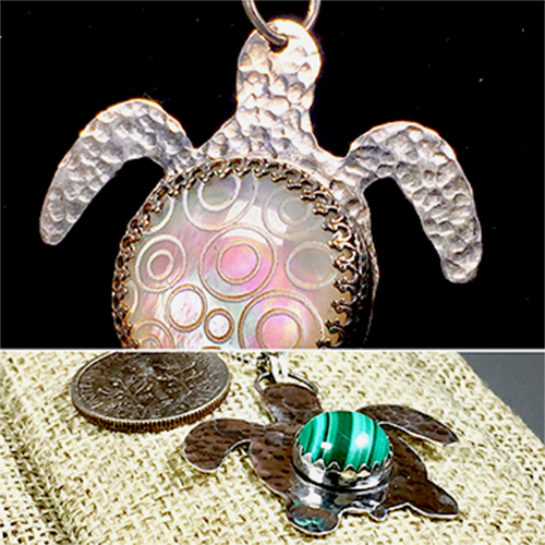 Sterling silver, hand textured turtle with a beautiful Mother of Pearl cabochon.