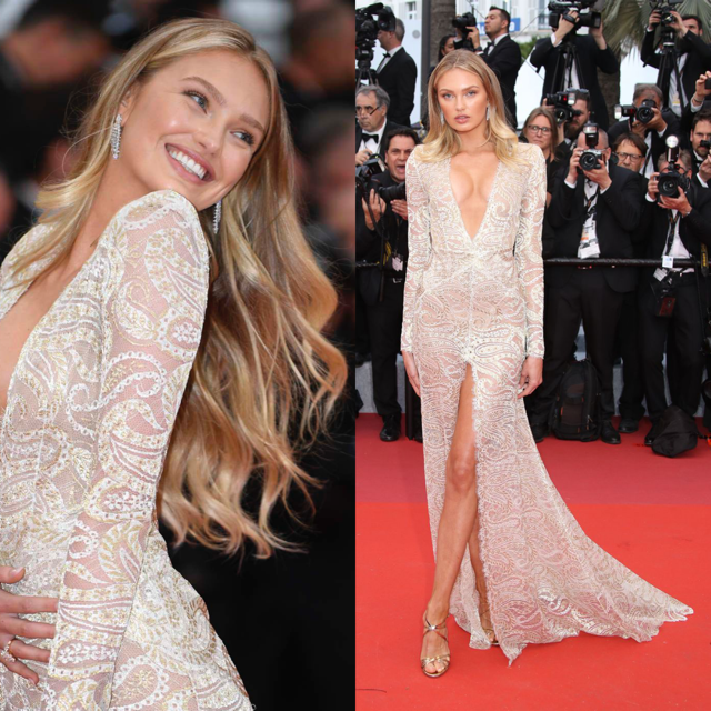 Romee Strijd in een jurk van Etro Couture. Haar prachtige lange blonde haren draagt ze in losse krullen. Aanbevolen producten:  Smooth & Shine Anti-Frizz Serum  en de  Give Me Hold Flexible Spray . Bron: Pinterest