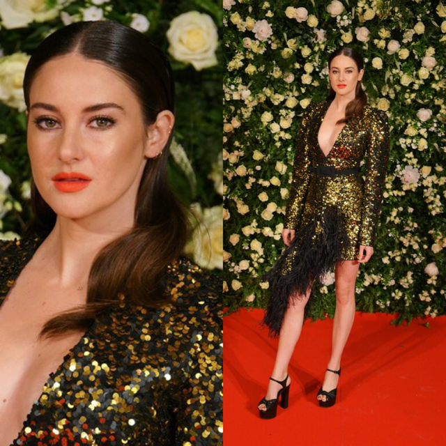 Shailene Woodley in een jurk van Michael Kors. Haar haren in een strakke middenscheiding met losse waves. Aanbevolen producten:  Smooth & Shine Anti-Frizz Serum  en  Give Me Hold Flexible Spray . Bron: Pinterest