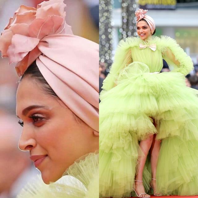 Deepika Padukone in een indrukwekkende jurk van Giambattista Valli Haute Couture. Op haar hoofd een bijpassende band met grote bloem. Bron: Pinterest