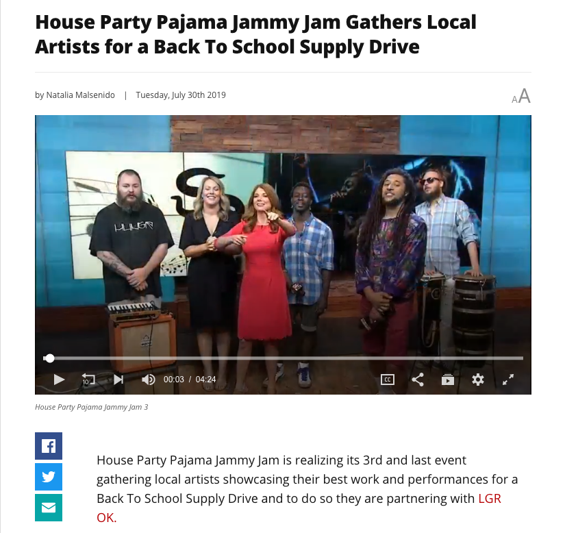 "Sativa Prophets Live on Fox 25's ""Living Oklahoma"" - After an interview with Living Oklahoma about their 3rd annual ""Pajama Jammy Jam"" event, the Prophets provide an intimate live performance of ""High Tide (Typhoons)"" with the addition of Panda on Synth and Rodrick on Percussion."