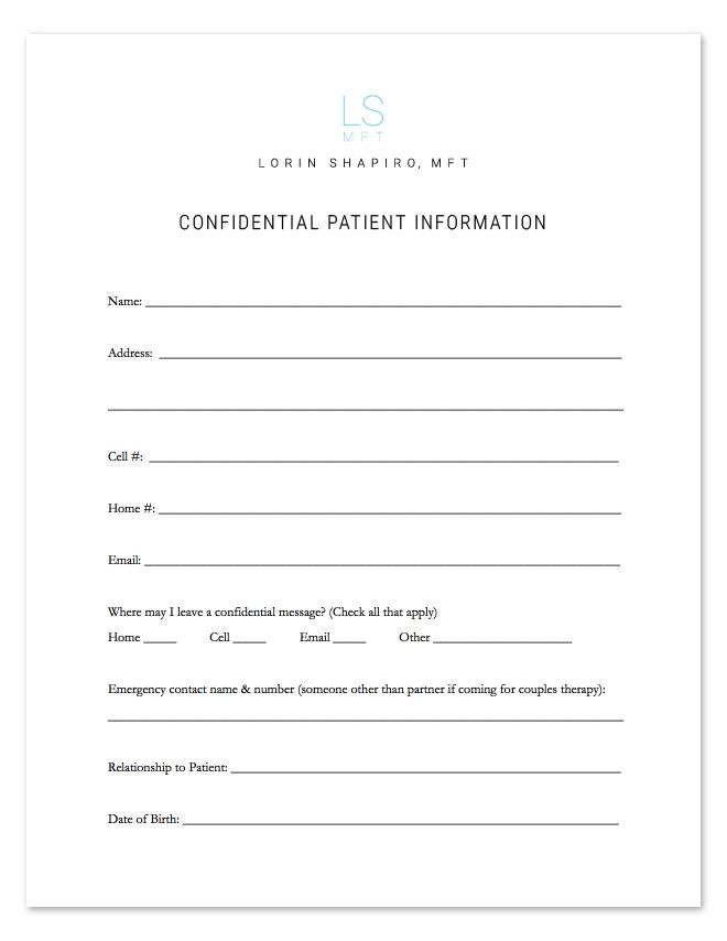 Confidential Patient Information Form - Lorin Shapiro MFT